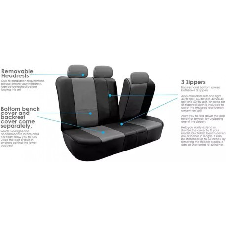 Full Set PU Leather car seat covers 5 seats 9 piece
